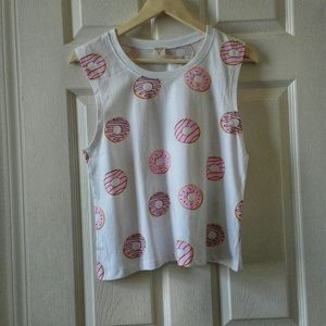 NWOT Darling Blue Pink Donut Graphic Tee Top L